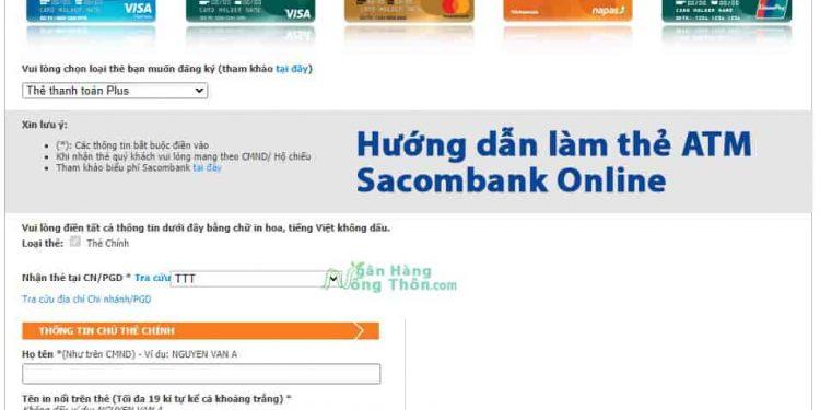 Hướng dẫn làm thẻ ATM Sacombank Online Miễn Phí