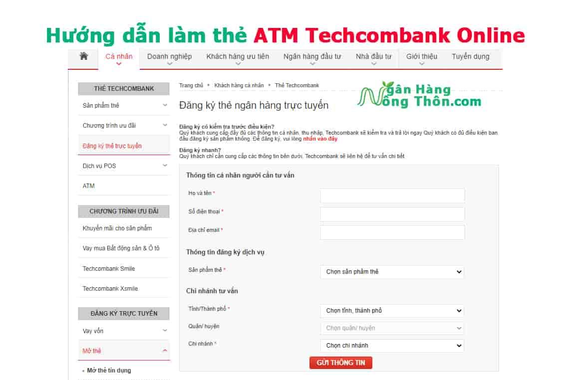 Hướng dẫn làm thẻ ATM Techcombank Online
