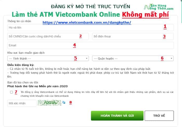 Hướng dẫn làm thẻ ATM Vietcombank Online Không mất phí