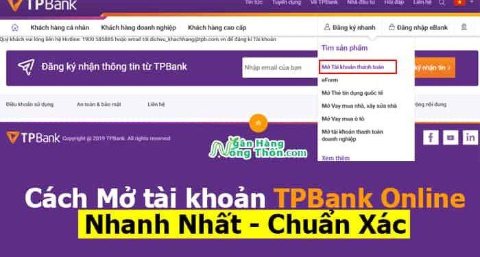 cách mở tài khoản TPBank Online