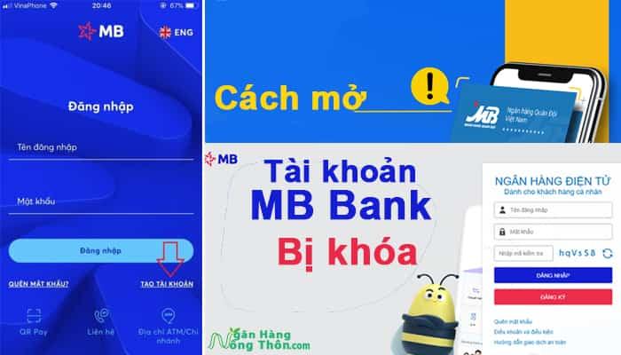 Cách mở tài khoản, thẻ MB Bank Internet Banking bị khóa, lỗi gw18, gw21, gw26, gw485
