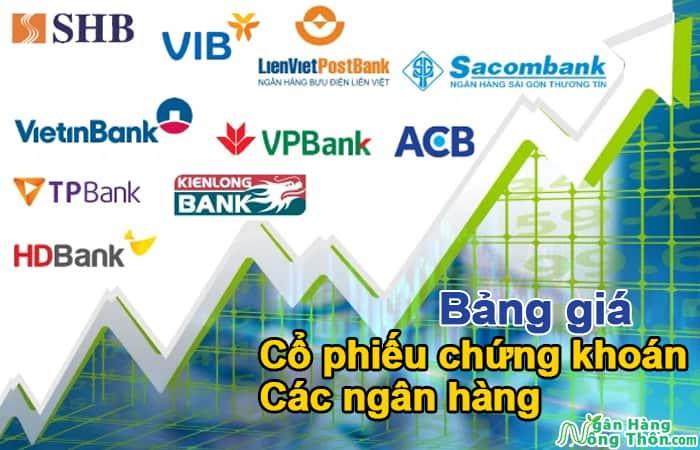 Bảng giá cổ phiếu chứng khoán các ngân hàng. So sánh giá cổ phiếu ngân hàng