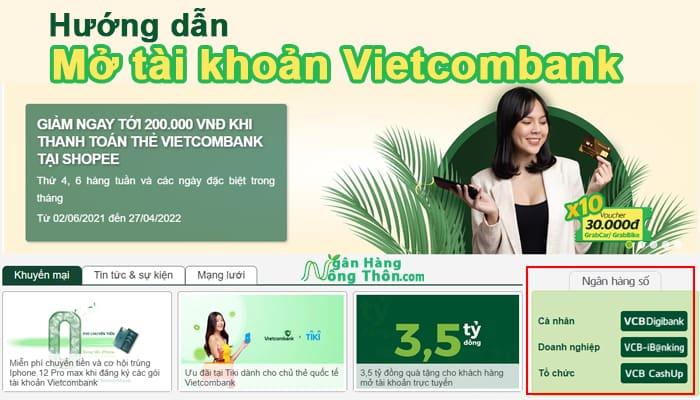 Hướng dẫn mở tài khoản Vietcombank trên điện thoại