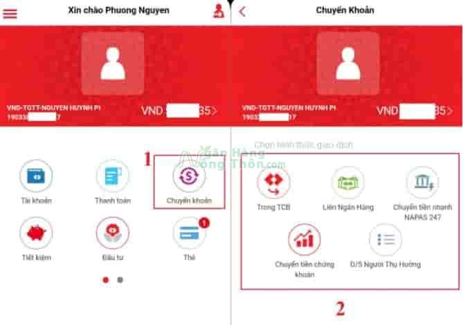 Chuyển tiền qua app Techcombank
