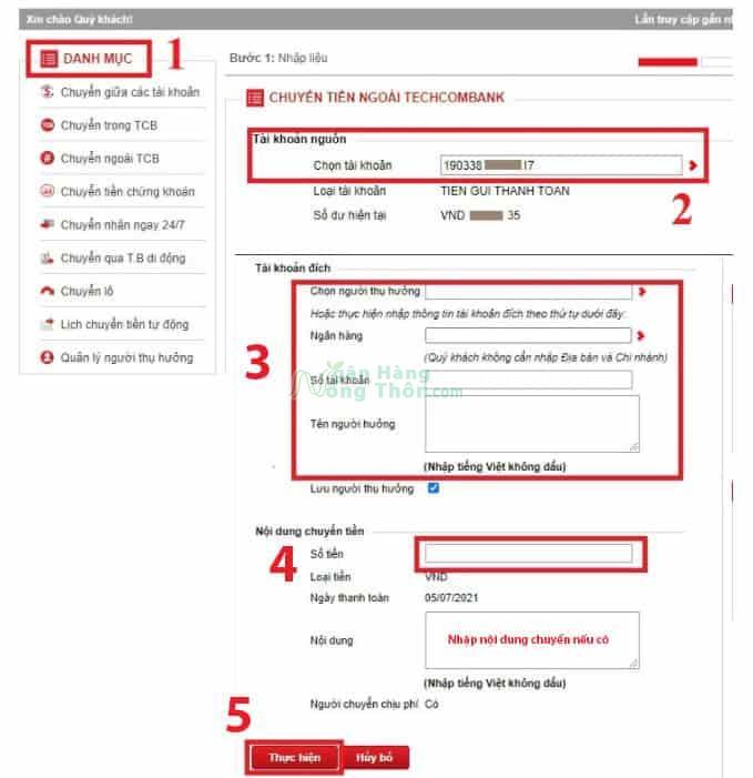 Chuyển tiền qua website của Techcombank